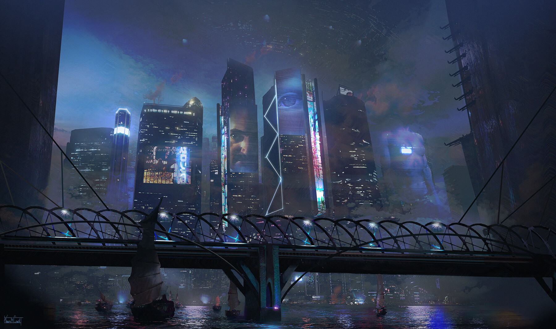 Cool And Inspiration Looking Of Cyberpunk City Concept Art