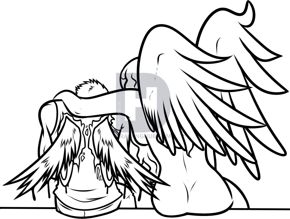 how to draw an angel