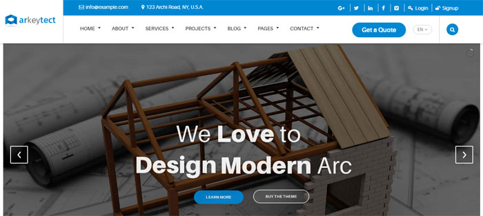 Arkeytect Architecture WordPress Themes To Design An Architect's Website