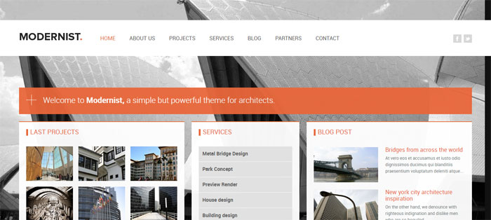 Modernist Architecture WordPress Themes To Design An Architect's Website