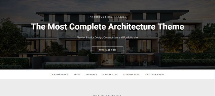 Prague Architecture WordPress Themes To Design An Architect's Website
