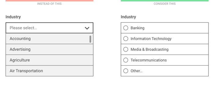 Dropdown alternatives for better (mobile) forms - Every