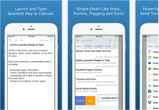 Drafts iOS productivity apps for iPhone and iPad