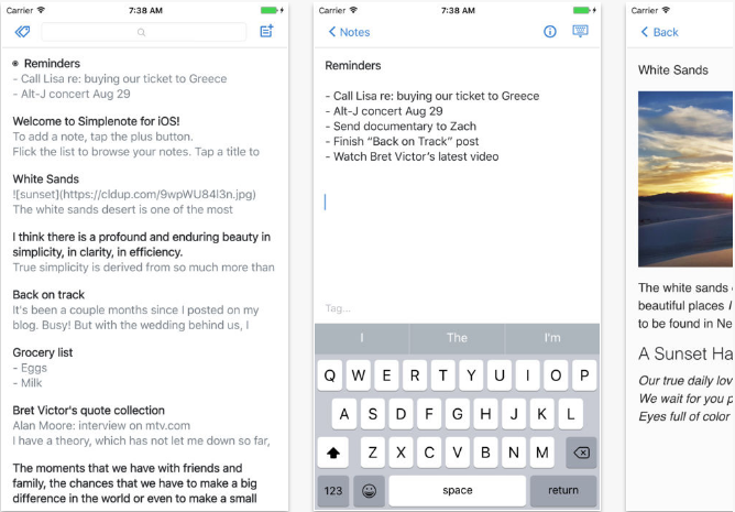 Simplenote iOS productivity apps for iPhone and iPad
