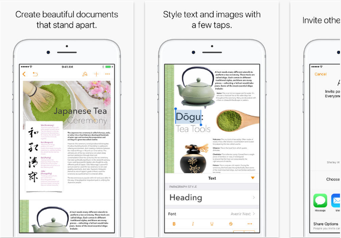 iWork iOS productivity apps for iPhone and iPad