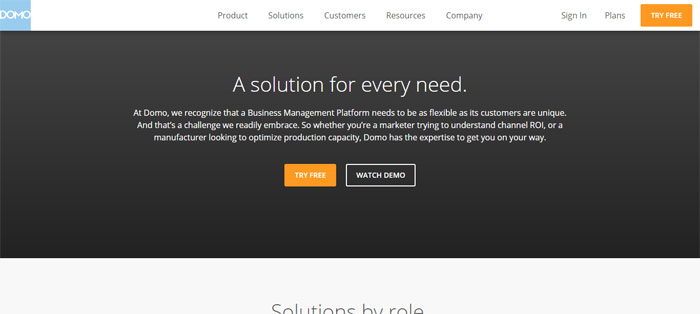 domo.com_solution_overview Creating B2B Websites: Tips and showcase of B2B website design