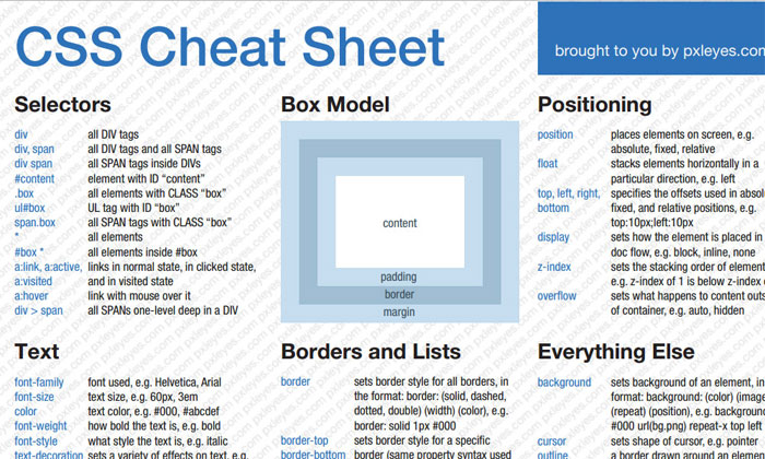 Css Html Javascript Cheat Sheets