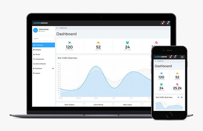 lumino-admin-bootstrap-template-700x453 Free dashboard templates to download and use for a web app