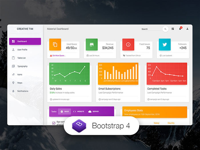 material-dashboard-700x525 Free dashboard templates to download and use for a web app