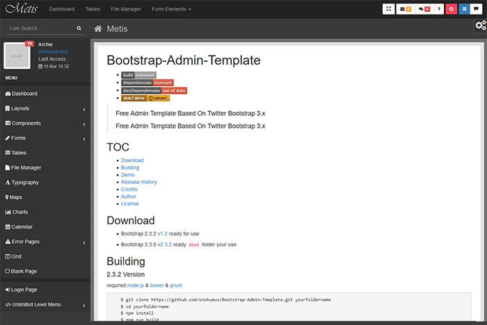 metis-700x468 Free dashboard templates to download and use for a web app
