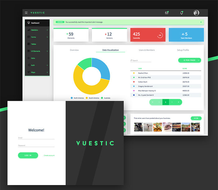 vuestic-admin-700x609 Free dashboard templates to download and use for a web app