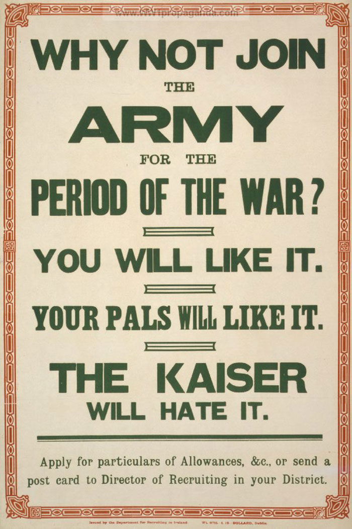 Recruiting-men-to-join-the-army-700x1052 WW1 Posters: Recruitment and propaganda posters from the first world war