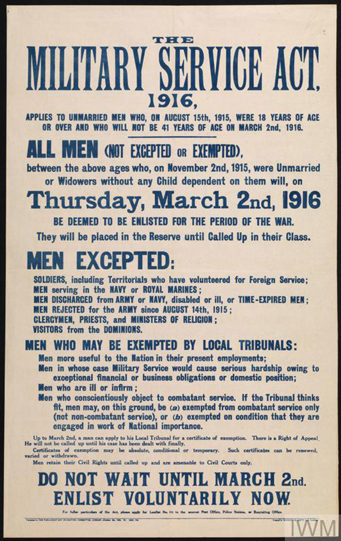 The-Military-Service-Act-700x1111 WW1 Posters: Recruitment and propaganda posters from the first world war