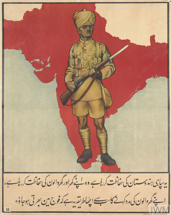 This-Soldier-is-Defending-India-700x881 WW1 Posters: Recruitment and propaganda posters from the first world war