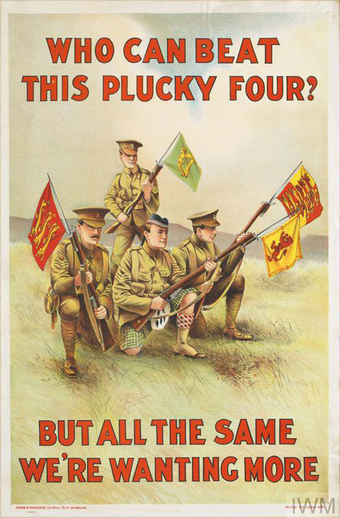 Who-Can-Beat-this-Plucky-Four-700x1065 WW1 Posters: Recruitment and propaganda posters from the first world war