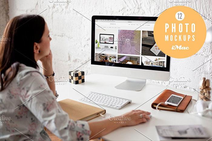 woman-700x467 iMac Mockup Collection: Free and Premium Computer Mockups (PSD)