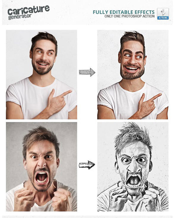 caricature maker photoshop actions free download