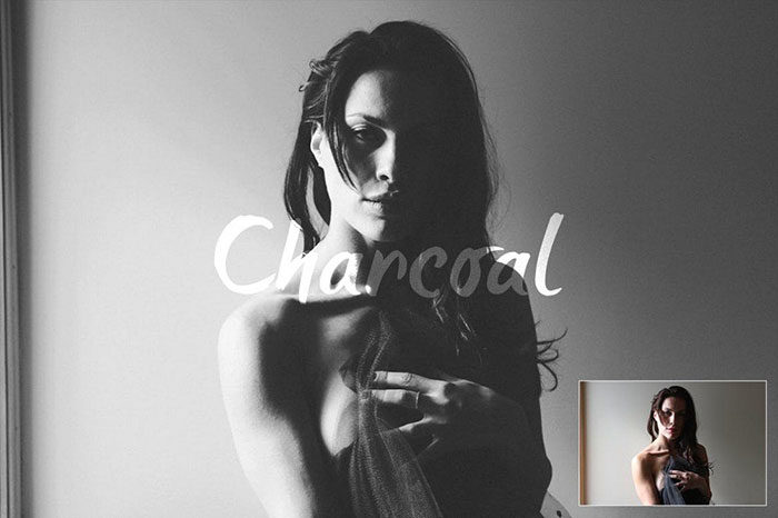 Charcoal-Action-700x466 Photoshop actions for portraits that you can download now