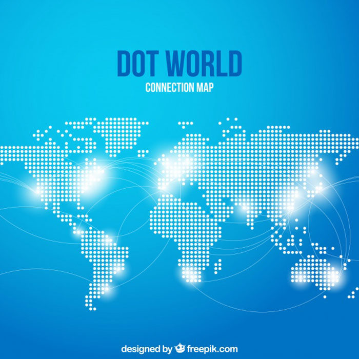 Dot-World-Connection-Map-700x700 World map vector graphics you can download with a few clicks