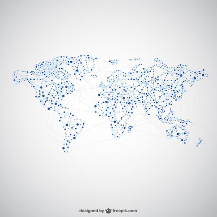 Dots-and-Connections-Map-700x700 World map vector graphics you can download with a few clicks