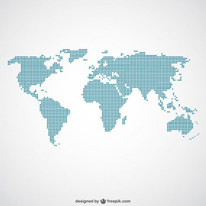 Dotted-Pattern-Map-700x700 World map vector graphics you can download with a few clicks