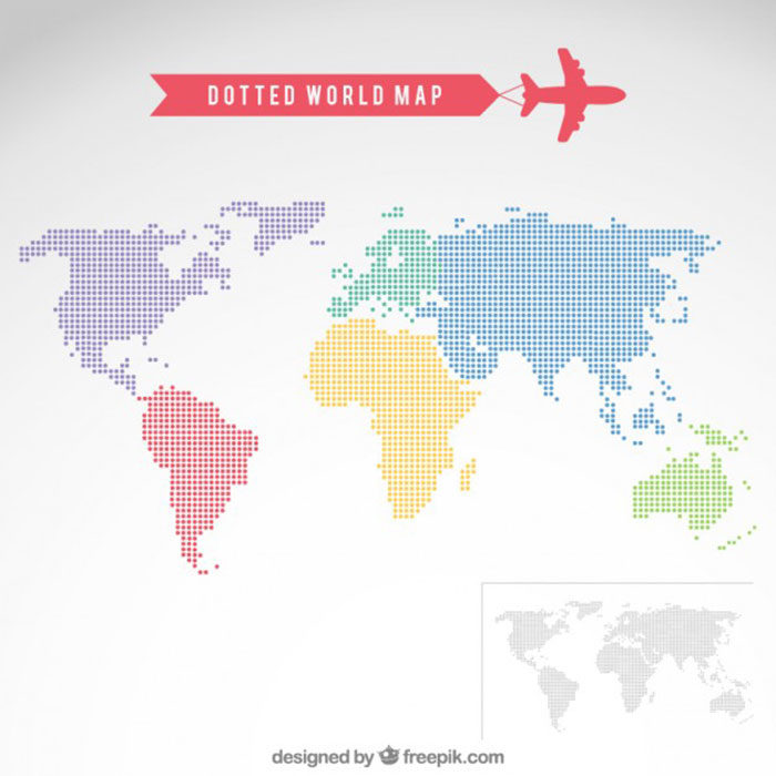 Dotted-World-Map-700x700 World map vector graphics you can download with a few clicks