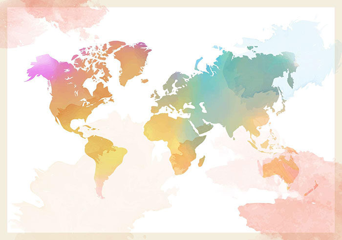Framed-Watercolor-World-Map-700x490 World map vector graphics you can download with a few clicks