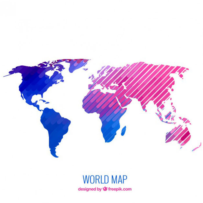 Geometric-World-Map-700x700 World map vector graphics you can download with a few clicks