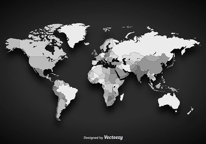 Grayscale-World-Map-700x490 World map vector graphics you can download with a few clicks