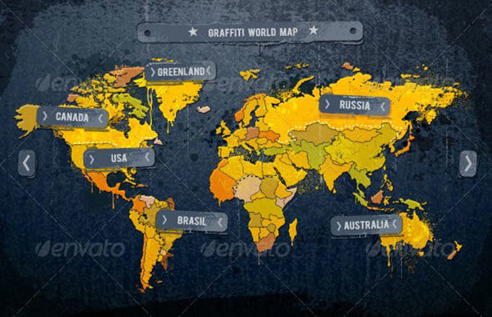 Grunge-painted-world-map-700x451 World map vector graphics you can download with a few clicks