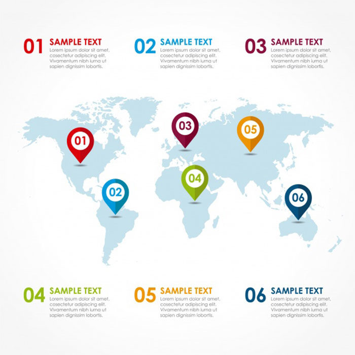 Infographic-World-Map-700x700 World map vector graphics you can download with a few clicks
