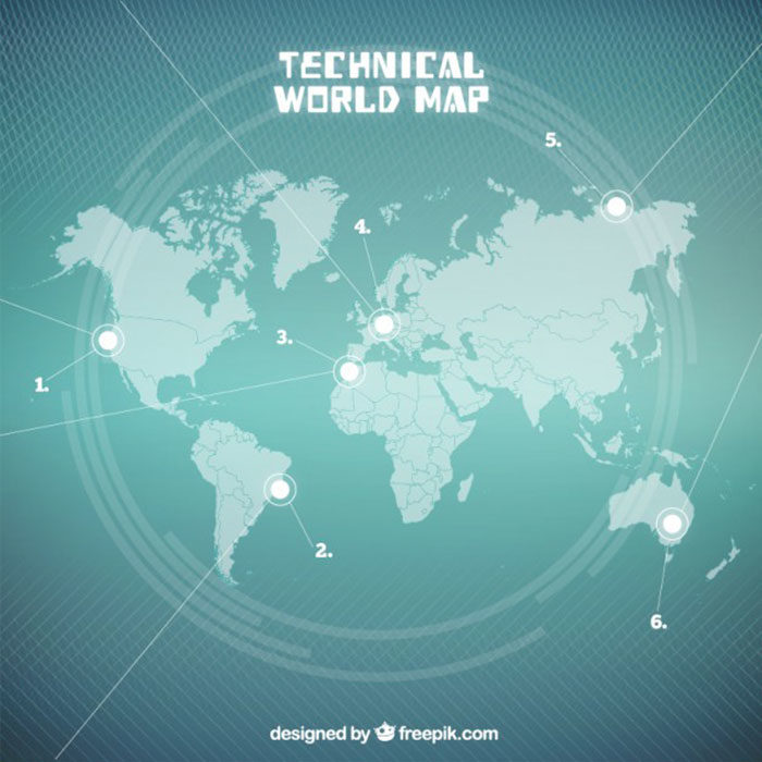 Technical-Style-Map-700x700 World map vector graphics you can download with a few clicks