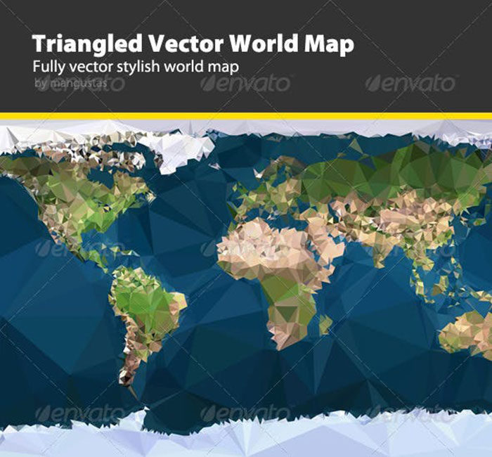 Triangled-Vector-World-Map-700x650 World map vector graphics you can download with a few clicks