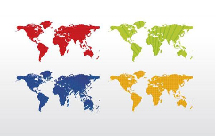 Vector-Open-Stock-4-Color-World-Map-700x443 World map vector graphics you can download with a few clicks