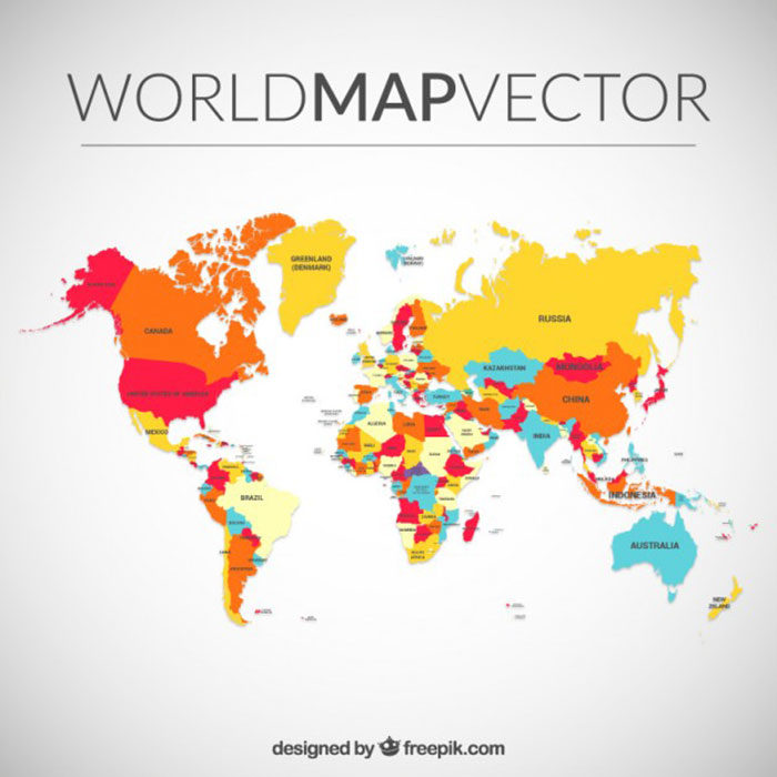 Vector-World-Map-700x700 World map vector graphics you can download with a few clicks