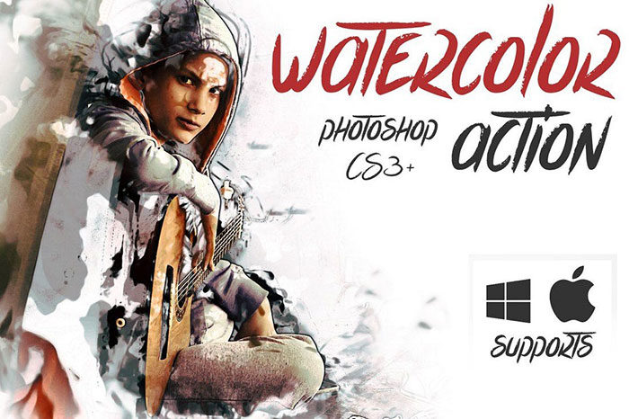 Watercolor-Action-700x466 Photoshop actions for portraits that you can download now