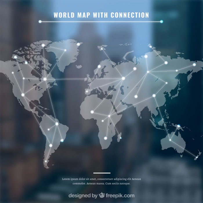 World-Map-With-Connection-700x700 World map vector graphics you can download with a few clicks