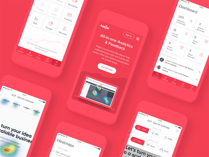 hotjar_mobile_copy Using a red color palette and the various shades of red