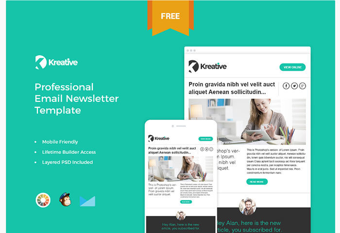 Kreative 700x480 Free Mailchimp Templates To Use For Your Newsletters