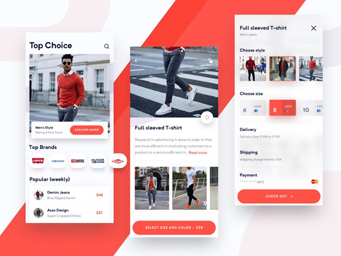 men_s_fashipn_ios_app_concept-1 Using a red color palette and the various shades of red