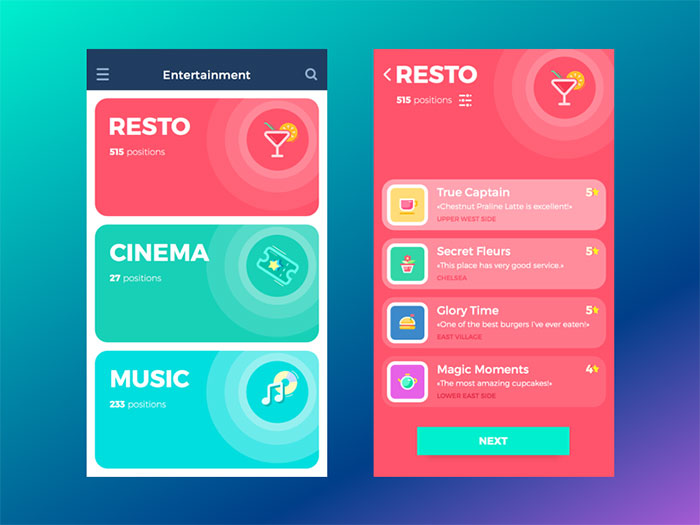tubik_studio_app_concept Using a red color palette and the various shades of red
