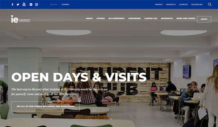 IE-university-700x407 Great school website design: 51 Academic websites
