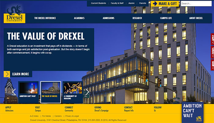 drexel-700x402 Great school website design: 51 Academic websites
