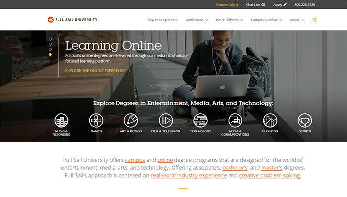 fullsail-700x397 Great school website design: 51 Academic websites