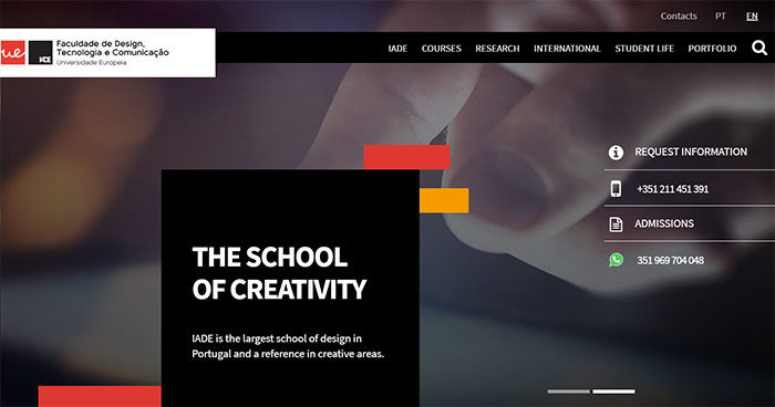 iade-700x368 Great school website design: 51 Academic websites