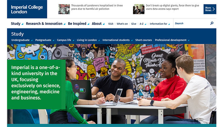 imperial-700x407 Great school website design: 51 Academic websites