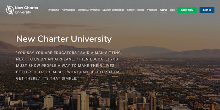 newcharteruniversity-700x352 Great school website design: 51 Academic websites