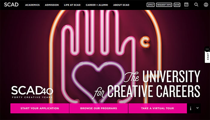 scad-700x401 Great school website design: 51 Academic websites
