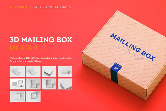 Mailing-box-mockup Get the best packaging mockup for your product: Free and premium options