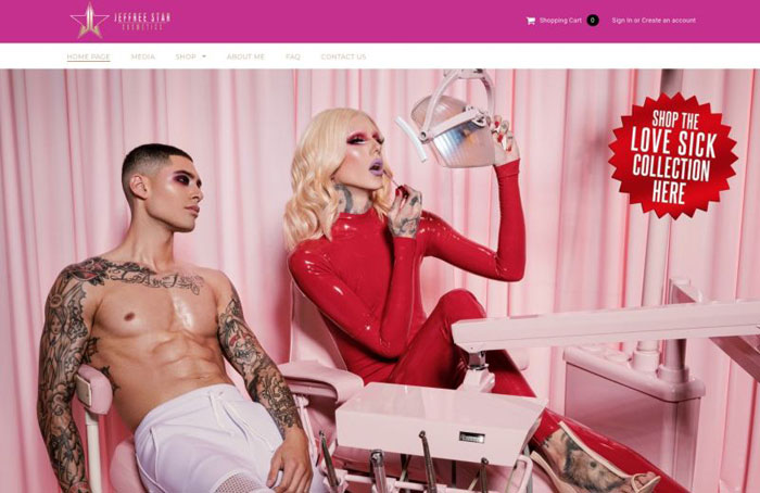 jeffree The best beauty websites you can find online (29 Examples)
